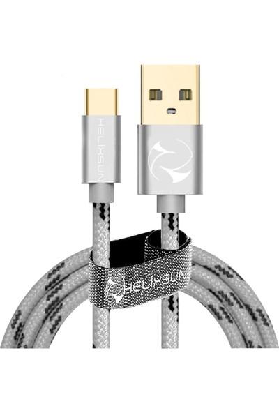 Helixsun Type-C Hızlı Şarj ve Data Kablosu 2m Gümüş