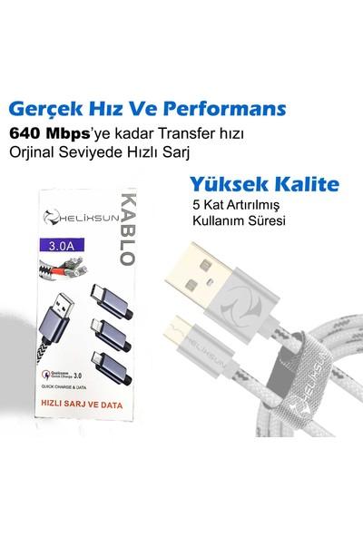 Helixsun Micro USB Hızlı Data ve Şarj Kablosu 2m Gümüş