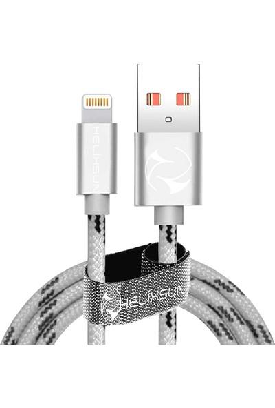 Helixsun Lightning Data ve Hızlı Şarj Kablosu 2m Gümüş
