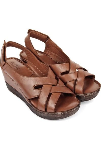 Gön Hakiki Deri Kadın Sandalet 45157