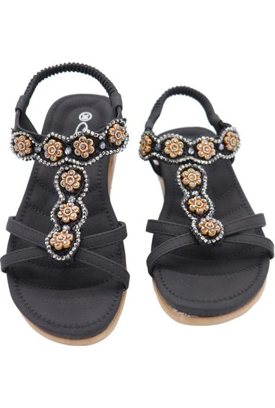 Guja 20Y150-13 Siyah Kadın Yastık Taban Kolay Giyim Sandalet