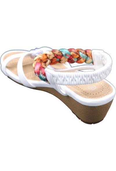 Guja 20Y151-3 Beyaz Kadın Yastık Taban Kolay Giyim Sandalet