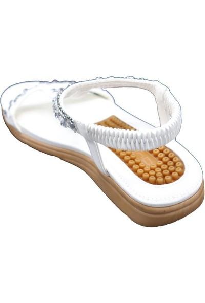 Guja 20Y231-6 Beyaz Kadın Yastık Taban Kolay Giyim Sandalet
