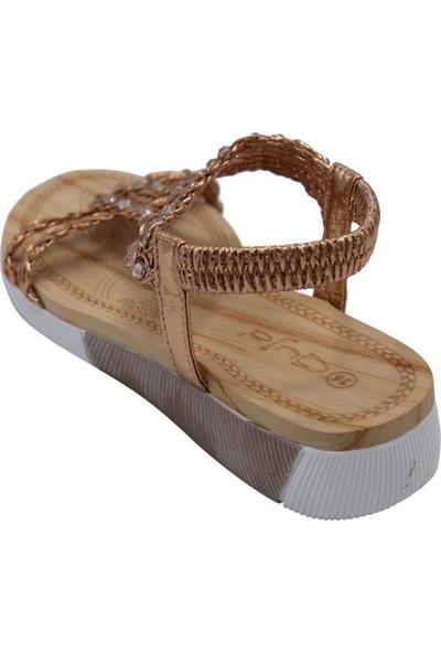 Guja 20Y232-6 Altın Kadın Yastık Taban Kolay Giyim Sandalet