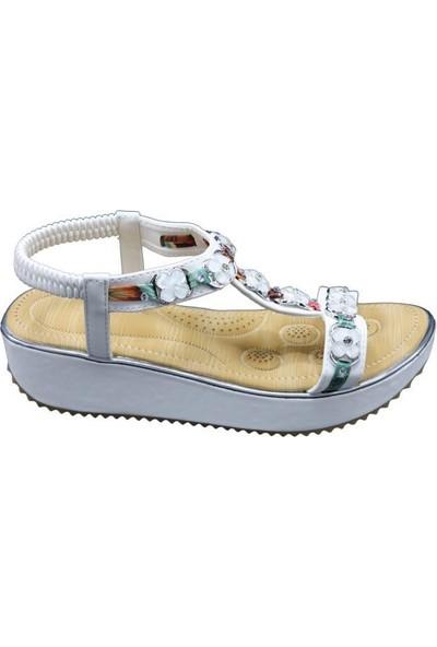 Guja 20Y236-4 Beyaz Kadın Yastık Taban Kolay Giyim Sandalet