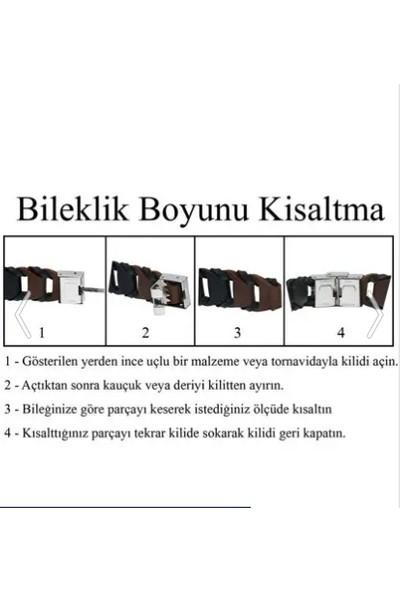Axexuar Atatürk Imzalı Çelik Deri Bileklik Paslanmaz, Kararmaz, Ayarlanabilir