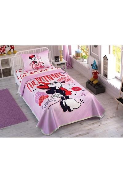 Taç Tek Kişilik Pike Takımı Minnie Mouse Pink Heart