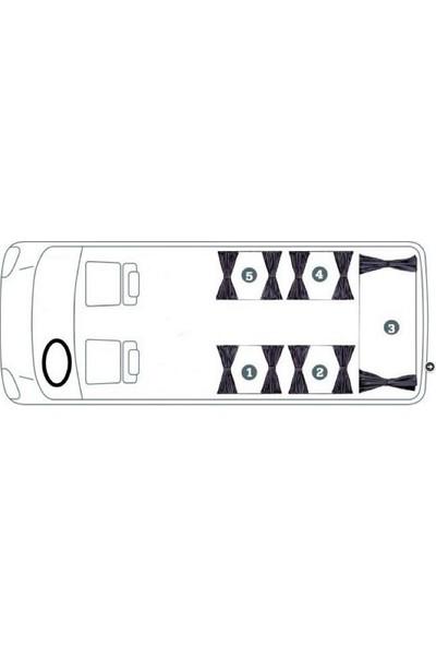 İntero Volkswagen Transporter T5 Camlı Van Raylı Perde Seti Siyah
