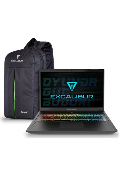 """Casper Excalibur G780.1075-B5J0A Intel Core i7 10750H 16GB 1TB + 256GB SSD GTX1650Ti Windows 10 Home 17.3"""" FHD Taşınabilir Bilgisayar"""