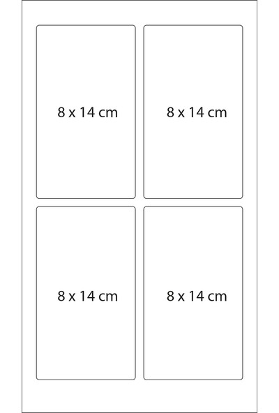 Dereli Matbaa Beyaz Ofis Etiketi 100 Sayfa Kesilmiş Sticker 8 x 14 cm 4''lü