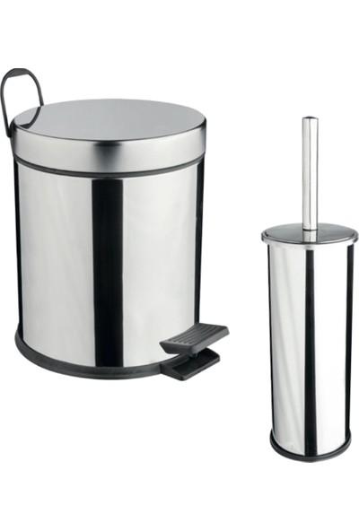 Maxiflow 2'Li Tuvalet Çöp Kovası Ve Tuvalet Fırça Set - Krom