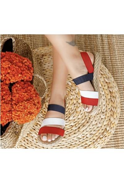 Eldorado Kırmızı-Beyaz-Siyah Şeritli Lastik Sandalet