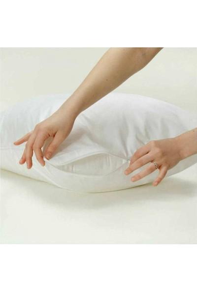 Soft Colours Fermuarlı Beyaz Renk Pamuk Yastık Kılıfı Seti