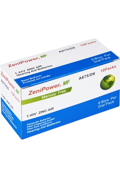 Zenipower 675 Numara Işitme Cihazı Pili / 5 Paket / 30 Adet