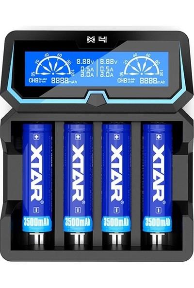 Xtar X4 - Taşınabilir LCD Ekranlı Hızlı Li-Ion/ni-Mh/ni-Cd Şarj Cihazı / 4lü