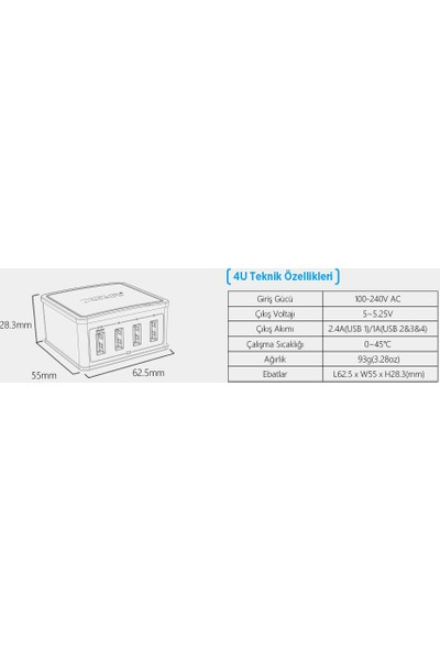 Xtar 27WATT 4 Port USB Yüksek Kalıteli Şarj Cihazı