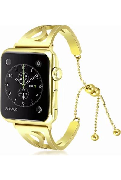Yukka Apple Watch Metal Tokalı Çiçekli Paslanmaz Çelik Kayış 38 mm
