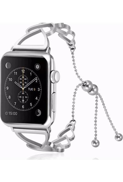Yukka Apple Watch Kayış Ayarlanabilir Boyut Aşk Kalp Desen Paslanmaz Çelik Apple Watch Serisi 38 mm