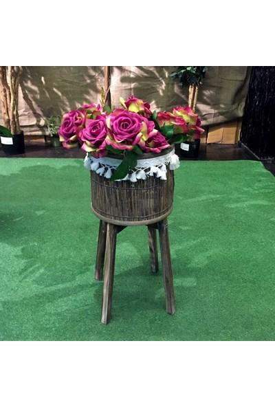 Euro Flora Püsküllü Ahşap Ayaklı Dal Sepet Çiçeklik 34x57 cm