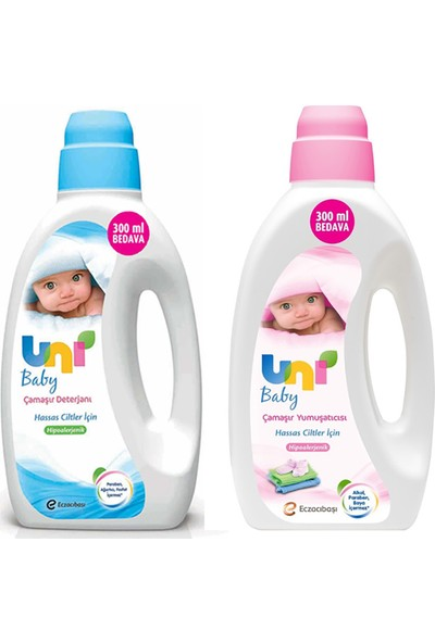 """Uni Baby (1800Ml Sıvı Deterjan Hassas Cilt + 1800Ml Yumuşatıcı) + Uni Baby Simple Clean Islak Mendil 72li (12 Adet) """