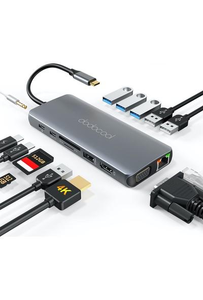 Dodocool DC74 14IN1 VGA HDMI 3.5mm Sd/tf Kart Pd USB 3.0 Usb-C Type-C Hub