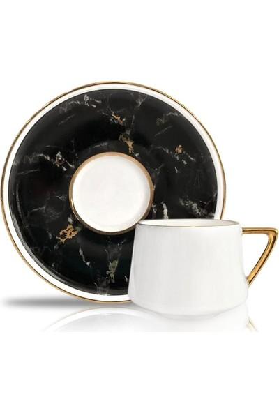 Winterbach Wınterbach Mermer Siyah 6'lı Türk Kahvesi Fincanı