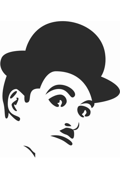 Sticker Atölyesi Charlie Chaplin Sticker - 20044 Siyah 9 x 9 cm