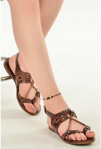 Ayakland 3266 Parmak Arası Günlük Kemerli Kadın Sandalet Kahverengi