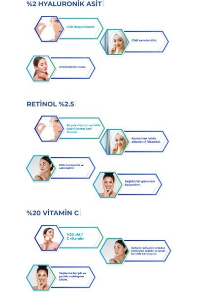Carino E Bella Vitamin C %20 + Hyaluronik Asit + Retinol Yüz Bakım Serum Set 30ML