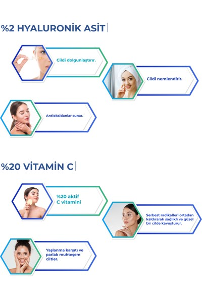 C Vitamini Serum - Hyaluronik Asit Serum 30 ml