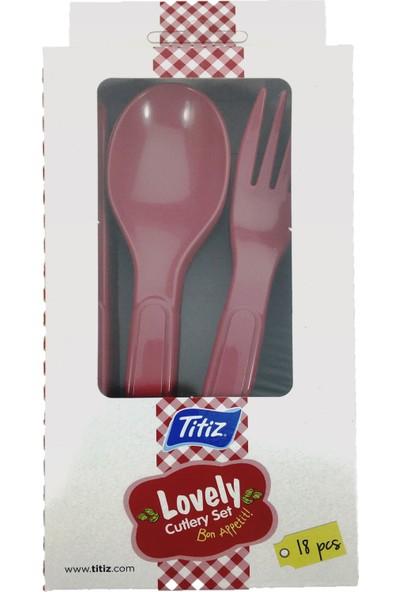 Titiz Plastik Birbirine Geçmeli Çatal Kaşık Bıçak Seti 18 Parça