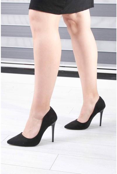 Conforcity Siyah Süet Kadın Topuklu Ayakkabı