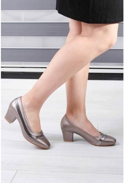 Descario Platin Kadın Topuklu Ayakkabı