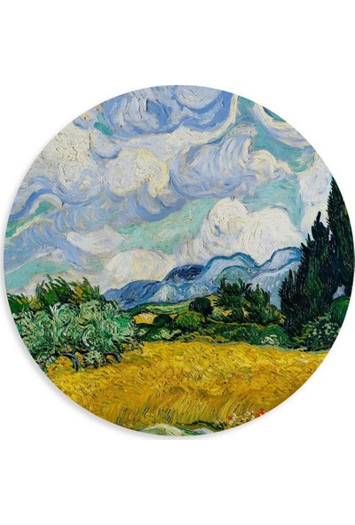 Wuw Van Gogh Wheat Field With Cypresses Yuvarlak Mouse Pad