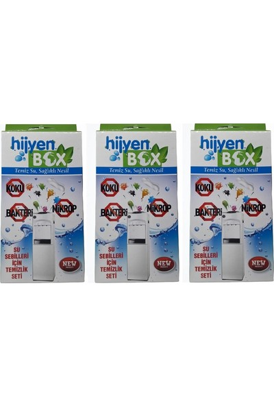 Hijyen Box Sebil Temizlik Sıvı Jel Solüsyon Temizleme Seti 3 Kutu