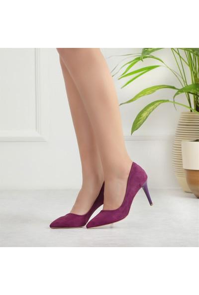 Ayakkabı Delisiyim Hiypi Süet Mor Renk Stiletto Ayakkabı