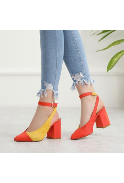 Ayakkabı Delisiyim Zepsi Turuncu Sarı Kalın Topuklu Ayakkabı