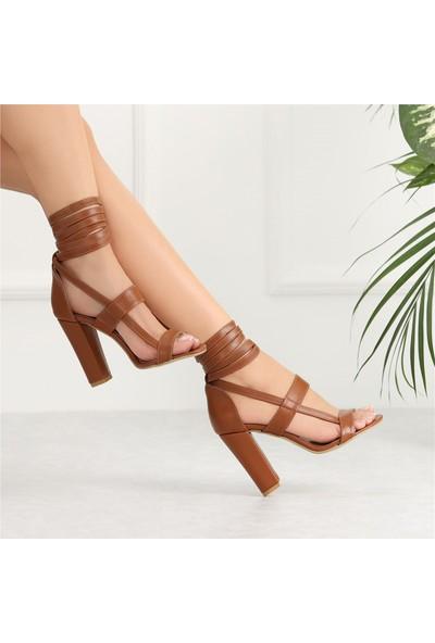 Ayakkabı Delisiyim Mendoza Taba Rengi Yüksek Topuklu Kadın Ayakkabı