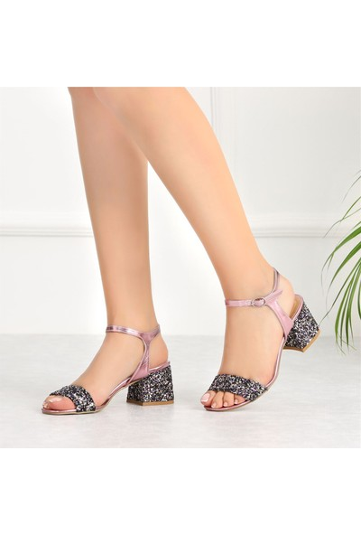 Ayakkabı Delisiyim Liva Pembe Pullu Tek Bantlı Topuklu Sandalet