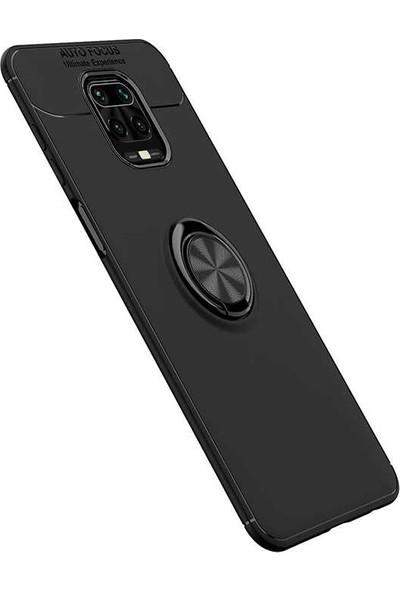 Kny Xiaomi Redmi Note 9 Pro Kılıf Yüzüklü Manyetik Ravel Silikon + Cam Ekran Koruyucu Sİyah