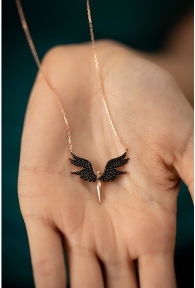 Ninova Silver Mikail Meleği Model Rose Kaplama Gümüş Italyan Kolye