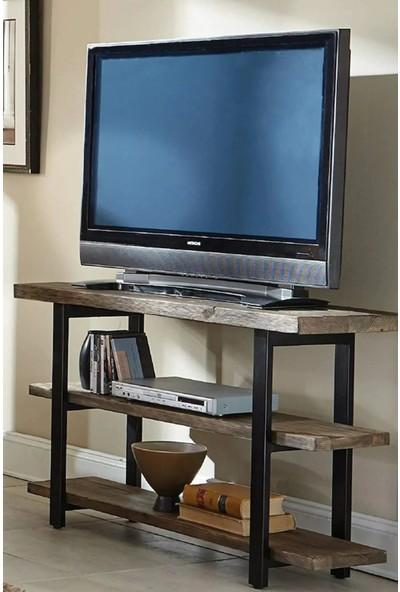 Plus Aksesuar Ahşap Dekoratif Tasarım Masif 3 Katlı Tv Sehpası Tv Ünitesi