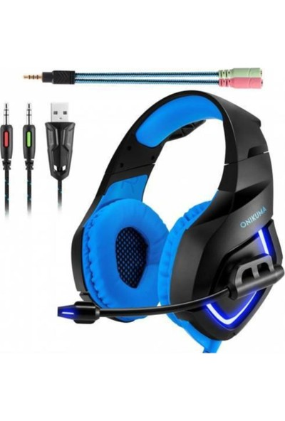 Onikuma Profesyonel Oyuncu Kulaklığı Gaming Kulaklık Siyah Renkli LED Pc/ps4/xbox Uyumlu Siyah-Mavi