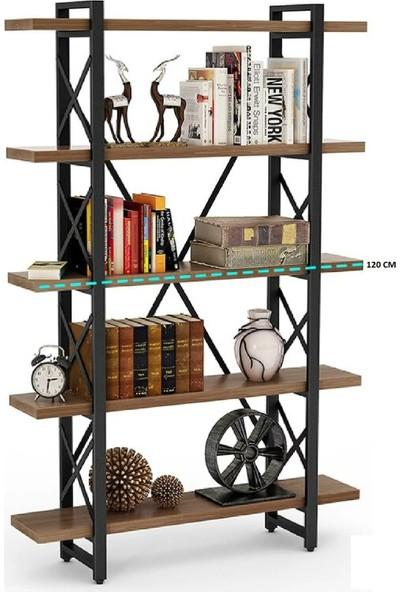 Plus Aksesuar Ahşap Doğal Masif 5 Katlı Raf Kitaplık 5 Raflı Dosya Raf Çapraz Metal İskeletli Kitaplık