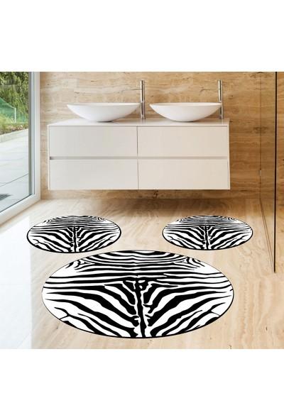Evpanya Zebra Desen 3'lü Banyo Paspas Seti