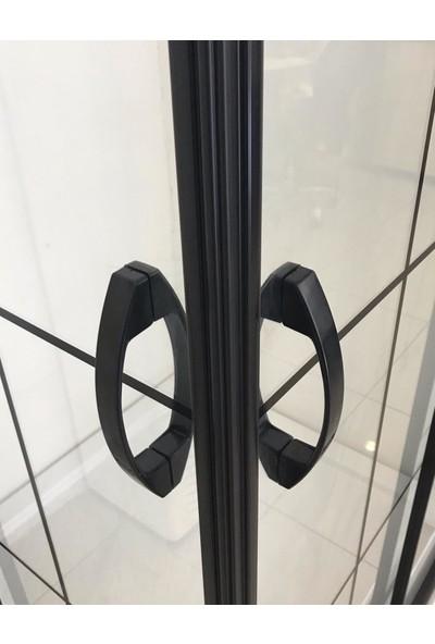 Durul Duşakabin 100 x 100 cm Kare 5 mm Şeffaf Siyah Profil Özel Seri Duşakabin Duş Teknesiz