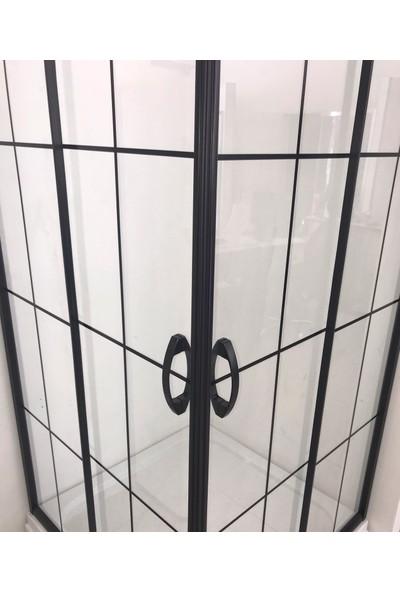 Durul Duşakabin 120 x 90 cm Dikdörtgen 5 mm Şeffaf Siyah Profil Özel Seri Duşakabin Duş Teknesiz