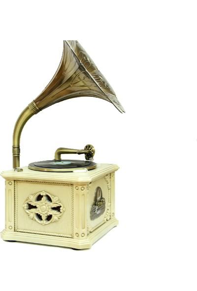 Crownwell Ahşap Nostalji Radyo Gramofon - Bej