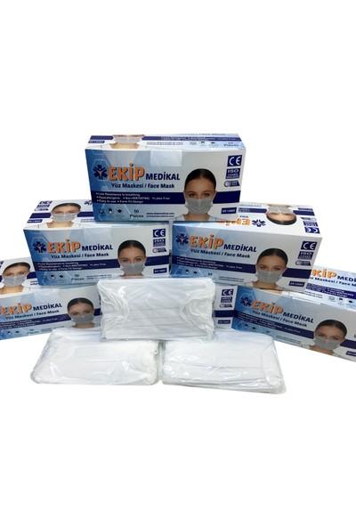 Ekip Medikal Ultrasonik 3 Katlı Burun Telli Cerrahi Maske 50'li x 2 Adet