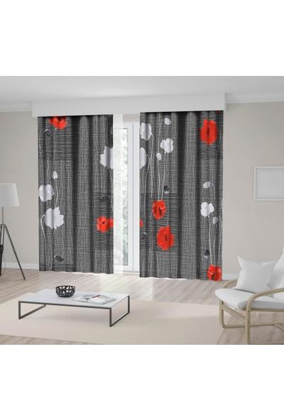 Henge Vahşı Kırmızı Beyaz Çiçek Gri Arka Plan Desenli Fon Perde 150 x 160 cm